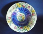 Large and Stunning Maling Blue Lustre 'Springtime' Conical Bowl c1950